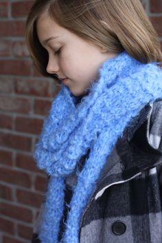 Blue Cloud Knit Scarf