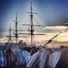 HMS WARRIOR at sunset,Portsmouth.by Ian Ricketts