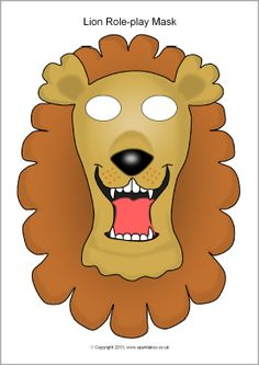 Lion Role Play Mask Template (Color or Black & White) Craft / Art Project - Great for Pre-K Complete Preschool Curriculum's Zoo theme! Repinned by Pre-K Complete - follow us on our blog, FB, Twitter, & Google Plus!
