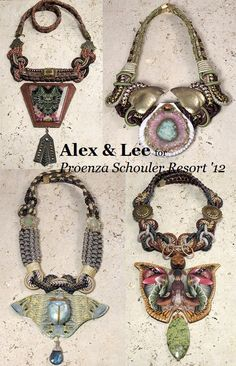Alex & Lee's jewelry designs for Proenza Schouler's Resort 2012 collection. Fiber Art Jewelry, Jewelry Art, Unique Jewelry, Fine Jewelry, Jewelry Ideas, Bold Jewelry, Beaded Jewelry, Jewelry Making, Frankie Clothing