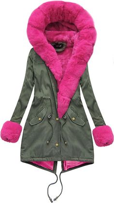 Dámska bavlnená parka s kožušinou khaki amarantová Parka, Coat, Jackets, Fashion, Down Jackets, Moda, Sewing Coat, Fashion Styles, Peacoats