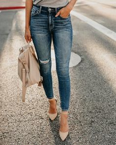 Touch the Sky High Waisted Skinny Jean from vici Sky High, Jeans Brands, Winter Wear, Boutique Clothing, Chic Clothing, Distressed Denim, Urban Fashion, Dress To Impress, Bell Bottoms