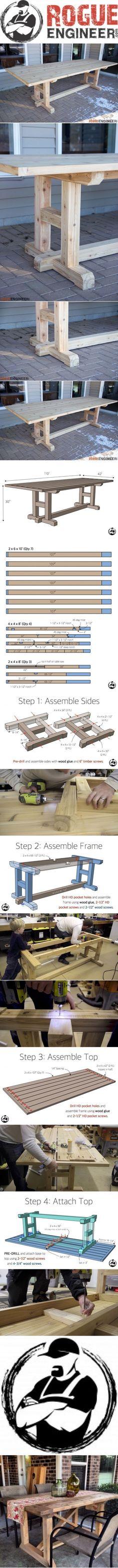 H-Leg Dining Table #woodworkingideas