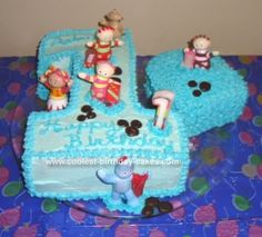 Homemade First Birthday Cake - In the Night Garden: My aunt and I made this First Birthday Cake for my son Aden's 1st birthday.  He loves In the Night Garden and since no bakery around here did these cakes