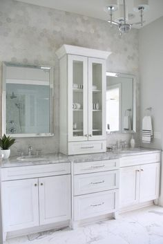 Create a master bathroom spa retreat with decorative home accents, luxury linens., Create a master bathroom spa retreat with decorative home accents, luxury linens and affordable gorgeous mirrors from HomeGoods. These beveled mirrors. New Bathroom Ideas, Bathroom Spa, Bathroom Inspiration, Bathroom Interior, Small Bathroom, Bathroom Fixtures, White Bathroom, Bathroom Toilets, Bath Ideas