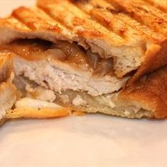 """Brie, Chicken and Caramelized Onion Panini. Inspired by my friend Jodi Liano's """"Perfect Panini"""" book (which I highly recommend), this is a savory, sweet, delicious panini."""