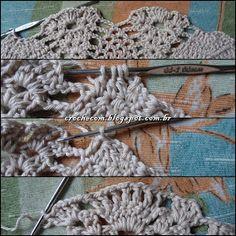 Cris Crochê com Amor: TOP CROPPED DE CROCHÊ COM PASSO A PASSO Crochet Halter Tops, Crochet Bikini Top, Crochet Top, Bikini Pattern, Bikini Tops, Diy And Crafts, Crochet Necklace, Projects To Try, Knitting