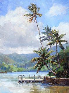 Wailua River by Jenifer Prince, Oil, 12 x 9 Hawaiian Art, Palm Trees Painting, Art Painting, Landscape Paintings, Landscape Artist, Fine Art, Hawaii Art, Surf Painting, Artwork Painting
