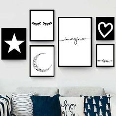 Set de 6 cuadros modernos - Blanco y Negro - Hoku Deco Room Ideas Bedroom, Room Wall Decor, Bedroom Decor, Nursery Decor, Creative Wall Decor, Aesthetic Room Decor, Diy Canvas Art, Wall Art Quotes, Painting Quotes