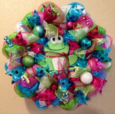 Christmas wreath christmas frog wreath christmas by WandNDesigns