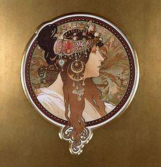 "Alphonse Mucha ""Tête Byzantine: La Brune"" 1897 by Art & Vintage, via Flickr"