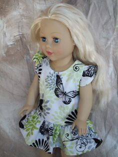 "18"" American Girl Doll Clothes - White, Lime Green, and Black Drop-Waist Dress with Butterflies"
