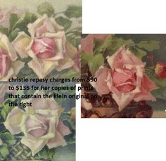 """it appears that christie repasy sometimes """"borrows"""" an image from another artist and uses it more than once.  on the left are two of christie's roses from different prints and on the right is c. klein's"""