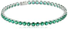 14k White Gold and Created Gemstone Tennis Bracelet >>> Continue to the product at the image link.