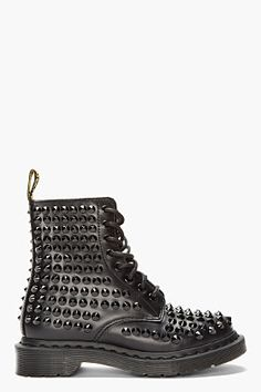 Dr  Martens BLACK LEATHER SPIKED ALL-STUD 8-EYE BOOTS