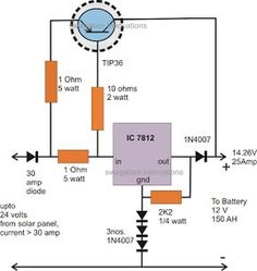 The post explains the specs of a versatile high current transistor, the and also illustrates how it can be applied for making a useful high current solar battery charger circuit. Hobby Electronics, Cool Electronics, Electronics Projects, Electronic Circuit Projects, Electronic Engineering, Electrical Engineering, Battery Charger Circuit, Solar Charger, Arduino