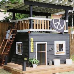 One-day backyard project ideas that spice up your outdoor space 26 . One-day backyard project ideas that spice up your outdoor space 26 One-day backyard project ideas that s. Kids Outdoor Play, Kids Play Area, Backyard For Kids, Backyard Projects, Outdoor Projects, Backyard Ideas, Backyard House, Kids House Garden, Play Area Garden