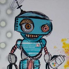 TagBot Graffiti Robot Stencil Drawing  Limited by SnobbyRobot, $35.10