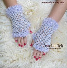 Lilac Crochet Mittens Fingerless Gloves Lace Hand by Crochetfield