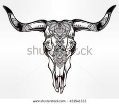 Hand drawn romantic tattoo style ornate decorative desert cow or buffalo skull. Spiritual native indian navajo art. Vector illustration isolated. Ethnic design, mystic tribal boho symbol for your use.: