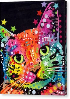15eee06d494fc Tilted Cat Warpaint Canvas Print by Dean Russo Art I Love Cats, Crazy Cats,