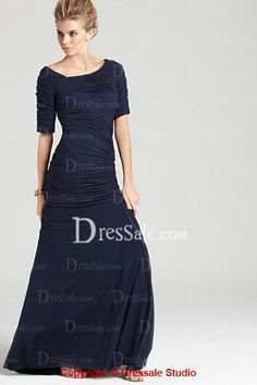 Gorgeous Sheath Evening Dress with Ruched T-shirt Sleeves