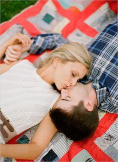 blanket couple pose