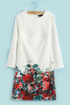 Vintage Flower Print Slim Dress in White [FXBI00582] - PersunMall.com