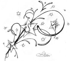 Swirls and Shooting Stars Tattoos   New Star Designs for your Tattoo Idea. Download these sketches and go ...