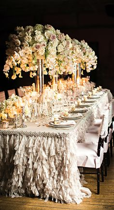 Elegant and romantic Tablescape! Perfect for a wedding or anniversary reception! Party Decoration, Reception Decorations, Event Decor, Wedding Centerpieces, Floral Centerpieces, Long Table Wedding, Wedding Ceremony, Wedding Receptions, Formal Wedding