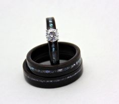 Wood Engagement ring with matching wedding by 2ndstreetringcraft, $749.00