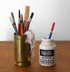 Miniature Gesso Jar and Can of Brushes (1 inch dollhouse scale). $11.00, via Etsy.
