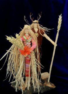 Corn Dolly Goddess Horned God altar figures Handmade by Rowan Duxbury positivelypagan.com