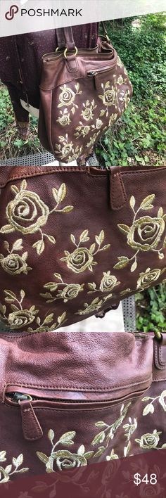 Anthropologie 🌹leather bohemian shoulder bag Good used condition please refer to the photos. Pebbled leather with gold roses embroidery.  Clean interior. Natural fluctuations in the exterior leather.  Retro-chic and unique.  Purchased at Anthropologie. Please ask questions or for more photos.  These items are used. Anthropologie Bags Hobos