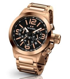 Men's Wrist Watches - TW Steel Canteen Black Dial Chronograph Rose Gold PVD Stainless Steel Mens Watch * You can find out more details at the link of the image. Hermes, Luxury Watches For Men, Metal Bracelets, Cool Watches, Wrist Watches, Ladies Watches, Gold Watch, Bracelet Watch, Rose Gold