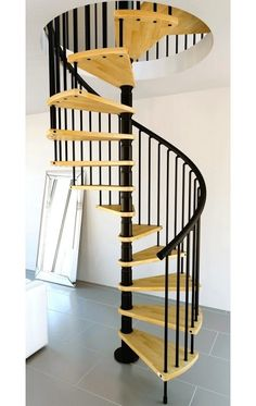 Beautiful Wood Spiral Staircase And Black Metal Railing Design Idea Feat  Floor Length Mirror Perfect Spiral Staircase Designs Boasting Beauty And  High ...