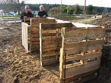 South Whidbey Good Cheer Garden  Langley, WA 3 bin compost system using 8 wood pallets