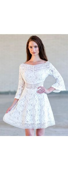 The With This Kiss Ivory Lace Bell Three Quarter Sleeve Dress is lined at bust and skirt. This dress has a vintage cut and style. Dresser, Lace Dress With Sleeves, Bell Sleeves, Rehearsal Dinner Dresses, Crochet Lace Dress, Curvy Women Fashion, Womens Fashion, Junior Dresses, Short Dresses