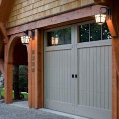 Garage door pergola plans Ideas for 2019 Grey Garage Doors, Garage Door Colors, Wooden Garage Doors, Garage Door Styles, Front Door Colors, Wooden Garages, Front Doors, Barn Doors, Garage House