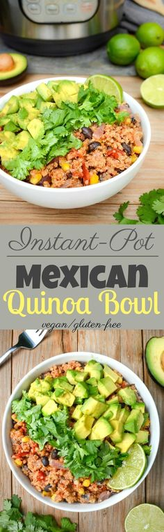This vegan Mexican Quinoa Bowl is a quick Instant-Pot meal when you're short on time. It's loaded with easy-to-store ingredients, such as quinoa, black beans, frozen sweet corn and canned fire-roasted tomatoes. Toss all the ingredients into your IP for a simple, healthy dinner any night of the week. *with oil-free option* via @WYGYP