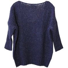 Essentiel Mangue Sweater (6.280 CZK) ❤ liked on Polyvore featuring tops, sweaters, loose sweater, blue v neck sweater, lightweight v neck sweaters, chunky knit sweater and boxy sweater