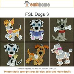 FSL Dogs Cute Animal Ornament Free Standing Lace Machine