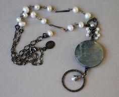 Soft Pastel Green Eagle Eye Gemstone Pendant, Peals and Gunmetal Eyeglass Holder Necklace