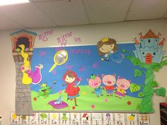 """""""Mirror, mirror on the wall, learning is fun for all."""" Love this cute bulletin board idea. Traditional Tales, Traditional Stories, Board Decoration, Class Decoration, Classroom Displays, Classroom Themes, Library Displays, Rhyming Preschool, Kindergarten Math"""