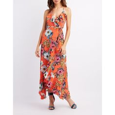 Charlotte Russe Floral Ruffle-Trim Maxi Wrap Dress ($24) ❤ liked on Polyvore featuring dresses, multi, racerback maxi dresses, floral wrap dress, white maxi dress, floral print maxi dress and maxi dress