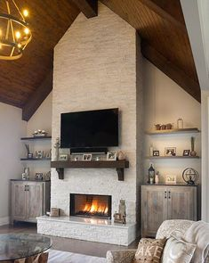 White Fireplace, Bedroom Fireplace, Farmhouse Fireplace, Fireplace Remodel, Modern Fireplace, Brick Fireplace, Living Room With Fireplace, Fireplace Design, Decorative Fireplace