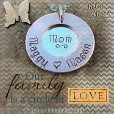 """This hand stamped custom necklace features a 1"""" copper open circle personalized with names of choice and tiny heart separator design. Visible through the opening in the copper circle is a 3/4"""" sterling silver circle, personalized with your name and one design symbol of choice.  A great gift for mom's and grandmother's.  #BellaMerce #MDcontest"""