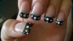 Polka dot acrylic nails