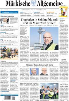 Freitag, 18. Mai 2012 - Die Flughafeneröffnung in Berlin wird noch weiter nach hinten verschoben » www.MaerkischeAllgemeine.de/BER