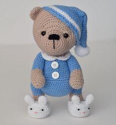 Aww I love how this sleepy bear came out! #crochet #amigurumi #teddybear…